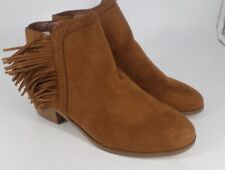 Red Herring Suede Tassel Ankle Boots Tan Size UK 4 EU 37 NH086 CC 10