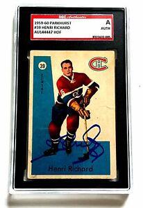 HENRI RICHARD SIGNED 1959-60 PARKHURST CARD #39 CANADIENS HOF SGC AUTHENTICATED