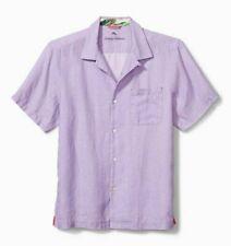 Tommy Bahama Short Sleeve Sea Glass Camp Shirt Purple Linen XL NEW