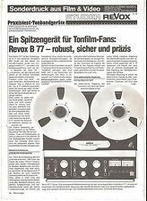 Film & Video STUDER REVOX B 77  Sonderdruck 5/1979 *****TOPP!!!!***** RAR!!!