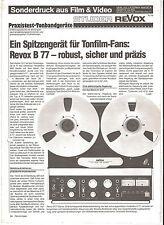 Film & Video STUDER REVOX B 77  Sonderdruck 5/1979 *****TOPP!!!!***** RAR!!!