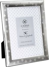 Solid Silver Heart Design Photo Frame by Carrs Silver & Nina Campbell (7 x 5 inc