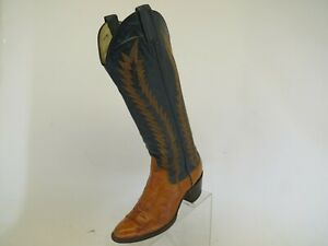 Larry Mahan Blue Brown All Leather Cowboy Western Boots Womens Size 5.5 B