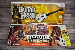 Nintendo Wii Guitar Hero Bundle w/ 2 Wireless Guitars 2 Games Van Halen ~ Tested