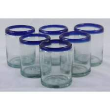 Cobalt Blue Rim Mexican Glasses Hand Blown Dof Rocks set 6 Glassware Mexico 10oz