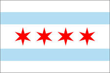3x5 inch CHICAGO FLAG Sticker - decal illinois il logo city of car window proud