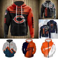 Chicago Bears Hoodie Full Zip Hooded Men's Casual Jacket Football Sweatshirt Top