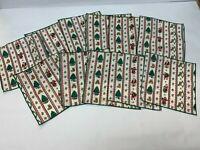 Christmas Napkins Set of 11 Cloth Fabric Holiday Decor Santa Rocking Horse Tree