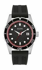 Bulova Men's 98B260 Quartz Black Dial Black Silicone Strap Sport 43mm Watch