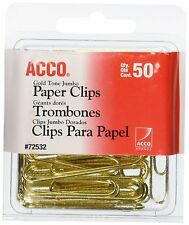 """ACCO Paper Clips, Wire, Jumbo, 1-3/4"""", Gold Tone, 50/box"""