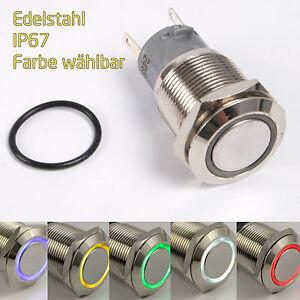 Edelstahl Drucktaster Taster Klingeltaster Klingelknopf Led beleuchtet [#1213]