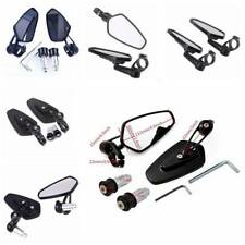 """2pcs 7/8"""" 22mm Motorcycle Rear View Black Handle Bar End Side Rearview Mirrors"""