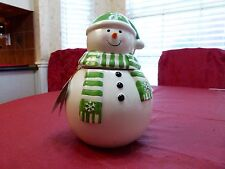 CHRISTMAS HOLIDAY SNOWMAN WHITE COOKIE JAR NEW
