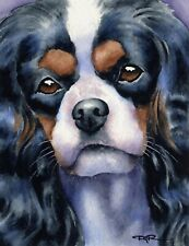 CAVALIER KING CHARLES SPANIEL 8 x 10 Dog Painting ART Print by Artist DJ Rogers