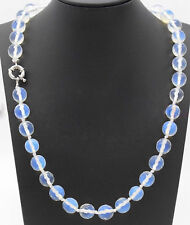 Fashion 10mm Natural Faceted Blue Opal Round Gemstone Beads Necklace 24'' JN1640