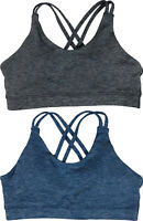 ASICS Womens Crossback Running Sports Bra Blue/Grey New
