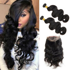 Brazilian Body Wave 360 Lace Frontal Closure With 2Bundles 100% Human Hair Weave