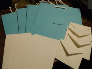 "4 Tiffany & Co Blue Gift Bags 9.75""x 8"" & 4 Embossed Note Cards & Envelopes New"