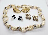 Vintage Faux Pearl Earrings & Faux Pearl Genuine Quartz Necklace