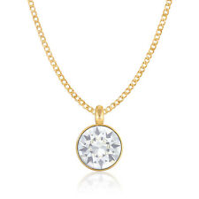Pendant Necklace with White Clear Round Crystals from Swarovski Gold Plated