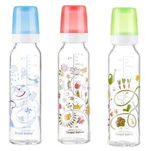 "New Glass baby Bottle Canpol 120 ml/ 240 ml ""Basic"" red blue green"