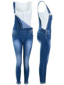 Dungarees Slim Fit Stretch Denim Blue Girls Age 8 10 12 14 16 Years Jeans