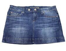 AMERICAN EAGLE- Womens Size 8 Medium Blue Jean Denim Button Fly Short Mini Skirt