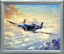 Spitfire Airplane Painting Military Aviation Wall Decor Silver Framed Picture