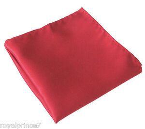 SOLID RED Handkerchief Only Pocket Square Hanky Wedding 100-O