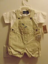Cherokee Boys 6/9 mo 100% Cotton 2 piece short outfit Beige/white/ Dragonfly's
