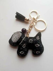 Dog Black Key ring Women Diamante Handbag Charm Key Chain Gift Girl Key ring
