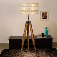 NAUTICAL WOODEN TRIPOD STYLISH TEAK WOODEN FLOOR LAMP VINTAGE WITHOUT SHADE