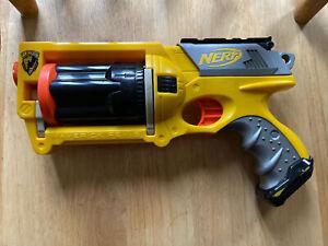 Yellow Nerf N-Strike Maverick REV-6 Revolver Dart Gun With FULL Ammo TESTED