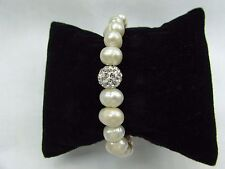 "10mm Fresh Water Pearl with Pave crystal ball 7"" Stretch Bracelet US Seller!!"