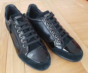 Geox Respira Womens Myria A Black Leather and Suede Lace / Zip Low Top Trainers