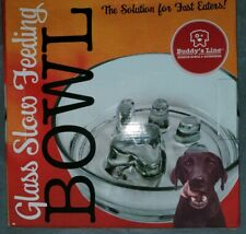 """7200 Glass Slow Feed Bowl Buddy's Dogs Pet Line 8.25""""X2.5""""-Holds 2 Cups of Food"""