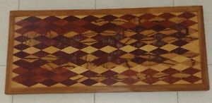 **Antique Vintage Handcrafted Diamond Inlay Design Wood Coffee Table Art Deco**