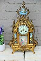 Antique French Sevres porcelain plaques Spelter clock