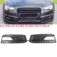 Pair Front Lower Fog Light Grille Honeycomb Fit For Audi S5 A5-SLine 2013-2016
