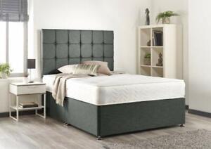 LUXURY FABRIC DIVAN BED WITH HEADBAORD & MEMORY ORTHOPEDIC MATTRESS 3FT 4FT6 5FT