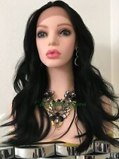 black wavy Layered lace front wig Heat Resistance Ok 20 Inch Long