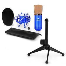 auna USB Kondensator Studio Mikrofon Set Spinne Tischständer Tasche blau