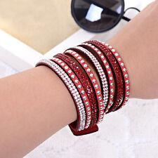 Women Ladies Multilayer Bracelet Wrap Rivet Leather Wristband Cuff Bangle