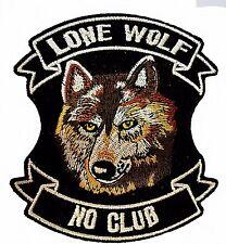 Lone Woll No Club MC Biker Patch Iron on10 x10cm Top Quality