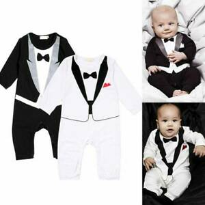 Jungen Kind Baby Smoking Jumpsuit Anzug Strampler Gentleman Party Outfits Sets