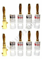 16x Nakamichi Gold Plated Speaker Audio Banana Plug 4mm Connector Bananen Hifi