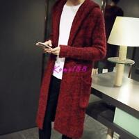 Fashion Men Knitted Jumper Trench Jacket Long Cardigan Hooded Warm coat Sweater