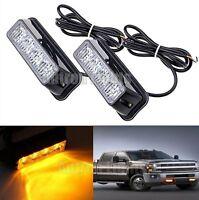 2x 4 LED 4W Work Vehicle Grill Strobe Emergency Warning Side Light Amber 12/24V