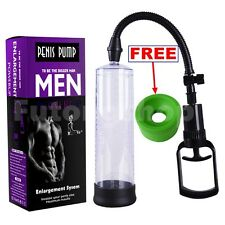Male Enhancer Penis Extender Vacuum Pump Enlarger Bigger Growth with 2 Sleeves