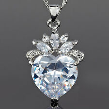 Fashion Jewelry Gift Heart Clear Topaz Stone White Gold Gp Pendant Necklace